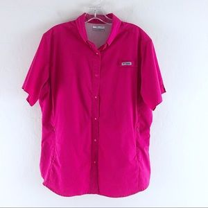 Columbia Button Down Pink Top Women Size XL Vented